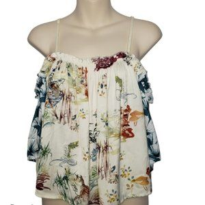 PATRONS OF PEACE floral cold shoulder blouse small
